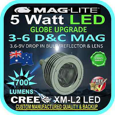 MAGLITE LED UPGRADE 3-6 C&D CREE 5W BULB GLOBE for TORCH FLASHLIGHT 3.6-9V 700lm