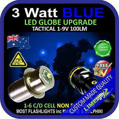 LED BLUE 1-9V UPGRADE 3W CREE BULB GLOBE for MAGLITE DOLPHIN FLASHLIGHT TORCH