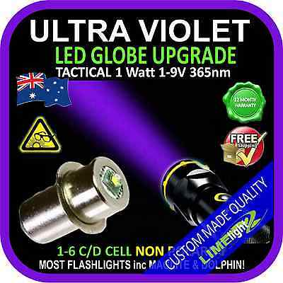 LED ULTRAVIOLET 1-9V CREE BULB GLOBE for MAGLITE DOLPHIN FLASHLIGHT TORCH 365nm