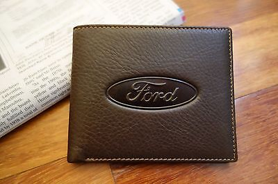 New Ford Men's Brown Distressed Leather Slim Bi-fold Wallet Genuine Car Brand