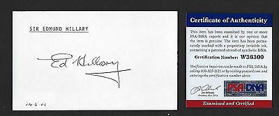 Edmund Hillary signed 3x5 card PSA Authenticated 1st to Summit Mt. Everest