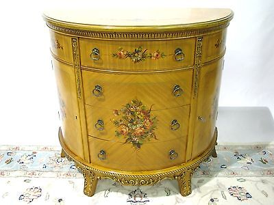 Elegant 1940s-50s Sheraton Revival Demilune Chest With Handpainted Floral Detail