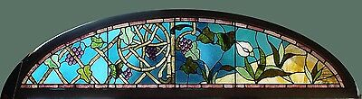 Antique American Stained Glass Floral Arched Aesthetic Transom