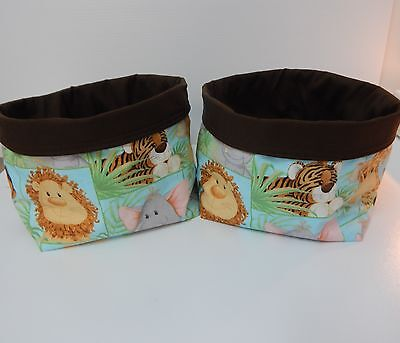 Fabric Baskets Jungle Babies  Nursery Nappy Holders x 2 Gorgeous! Great Gift!