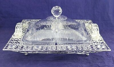 New Silver Coloured 4 Pot Serving Tray With Handles 0656