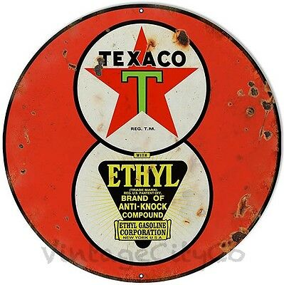 """Antique Style """"Texaco - Ethyl"""" Gasoline Metal Sign - Rusted"""
