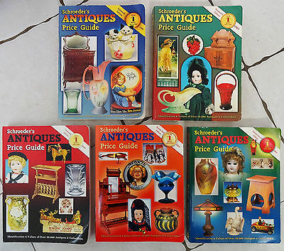 Lot of 5 Schroeder's ANTIQUES Price Guides 2000, 2001, 2002, 2003, 2004