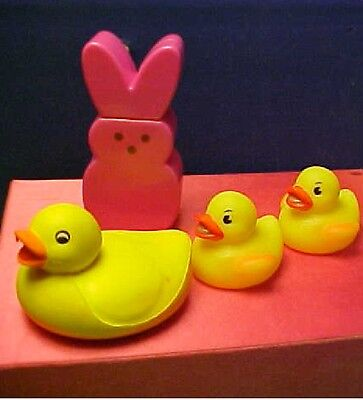 Pink Peeps Rabbit & Squeezable Yellow Rubber Duckies for Easter