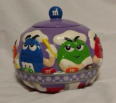 M&M Candy Cookie jar purple round factory line workers orange green collectible!