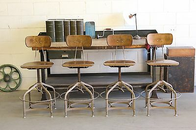 ONE (x1) Vintage Industrial Toledo UHL Draftsman Stool Machine Age Chair Factor