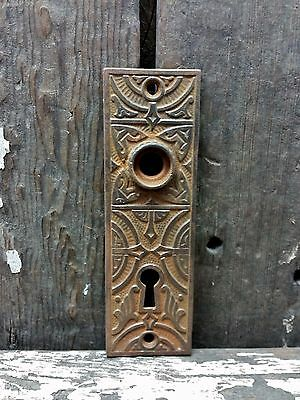 VTG Old Small RUSTIC Cast Iron Fancy EASTLAKE Keyhole Door Knob Backplate Cover*