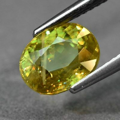 Rainbow Luster  2.75ct Oval Natural Yellowish Green Sphene, (Titanite)