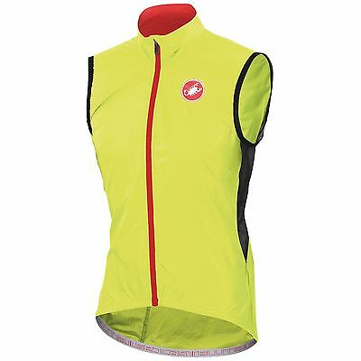 Castelli Velo Showerproof & Windproof Cycling / Bike Vest In Yellow - Large (L)