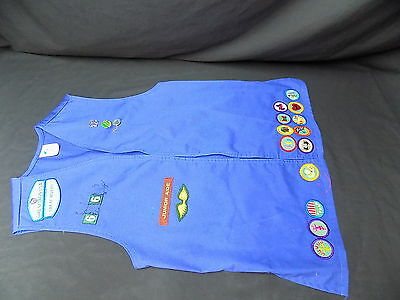 3 Girl Scout Vest Lot with Badges from 1990s