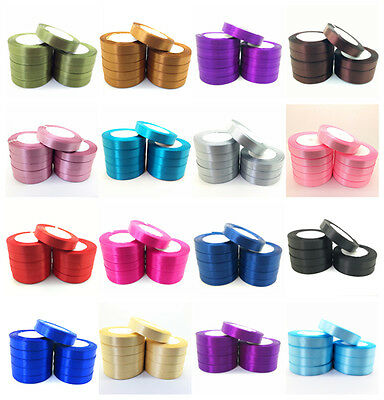 New 6/10/15/20/25/50mm Wide 25 Yards Satin Ribbon Bow DIY Craft Sewing Supplies