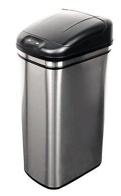 Home Organizer Touch-Free Motion Sensor Trash Can Stainless Steel Garbage Bin .