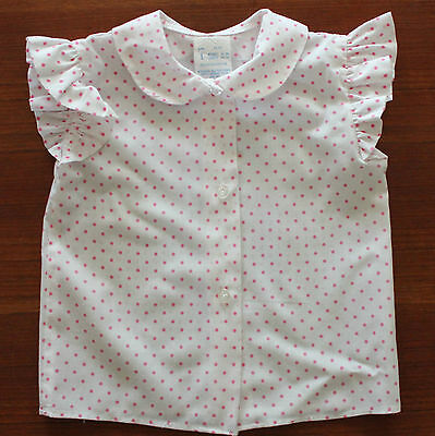 VINTAGE 1970'S 80'S  ~ Little Girls White & Pink Polka Dot Button Up Blouse ~ 1