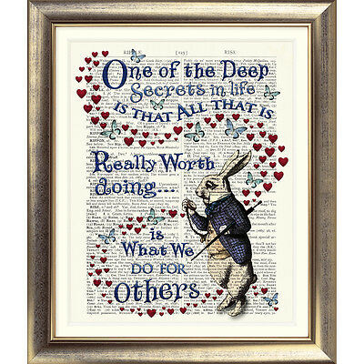 Dictionary Page Art ALICE IN WONDERLAND PRINT Vintage ANTIQUE Book Picture Quote