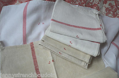 A classic French red striped torchon/kitchen towel, JR monogram
