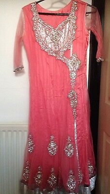 Ladies Pink Anarkali Net Dress Size S Stone Work