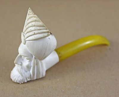 Vintage Old Carved Chief Head Yello Pipe Meerschaum Smoking Pipe