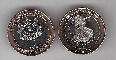 Lesotho - New Issue Bimetal 5 Maloti Unc Coin 2016 Year 50 Anni Independence
