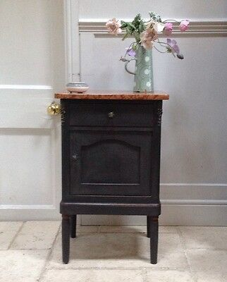 Antique French Marble Top Bathroom Hall Bedside Cabinet Table Black Painted • £295.00