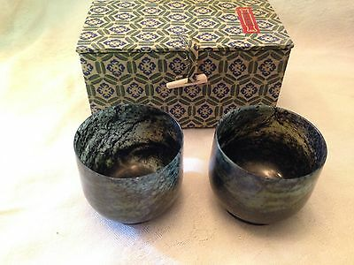 Vintage Carved Asian Mottled Jade Ceremonial Cups & Fabric Lined Box-Set Of Two