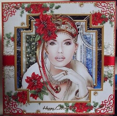 Handmade art deco happy Christmas card a female in red with poinsettia flowers