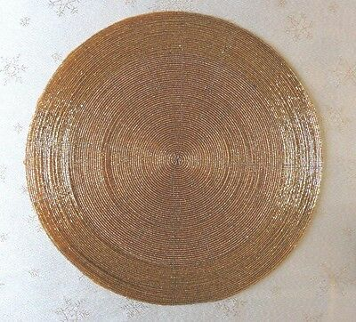Christmas Round Placemat 35cm - GOLD Glass Beads  - Felt Backing Protection