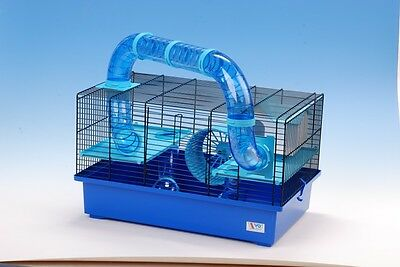 Cage for Hamster, Mouse or Gerbil with accessories - BLUE
