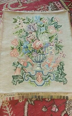 Vintage 40's completed tapestry panel urn of flowers