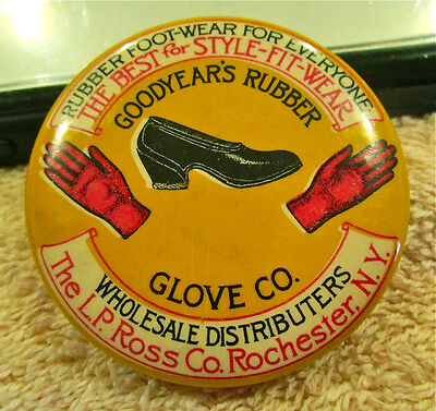 Rare Vintage Goodyear's Rubber Glove Co. Pocket Mirror & Pin Holder