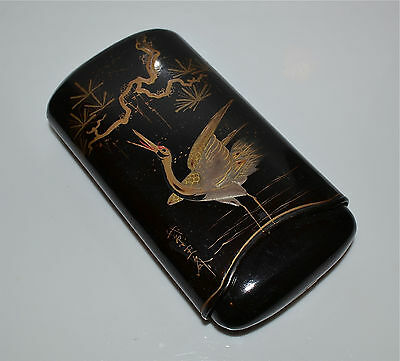 Japanese Lacquer Inro Crane Gold Makie Signed Vintage