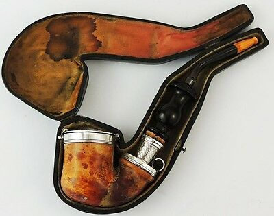 A Very Fine Victorian Silver Mounted Meerschaum Smoking Pipe London 1856