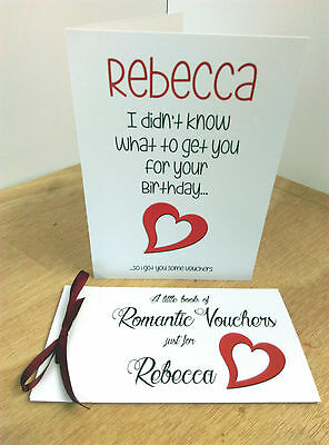 ROMANTIC LOVE VOUCHER BOOK COUPONS BIRTHDAY CARD Wife Girlfriend