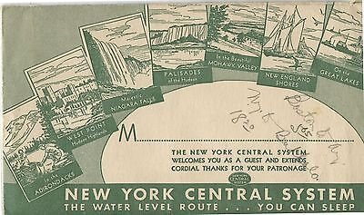 Old 1940's New York Central System Railway Envelope & Receipts