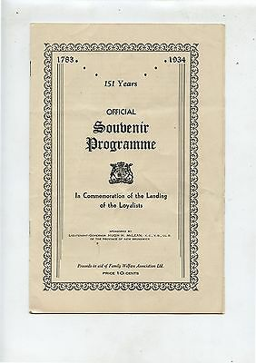 Old 1934 Souvenir Programme Landing of Loyalists Saint John NB