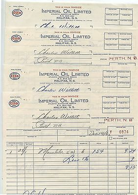 4 Old 1962 Esso Imperial Oil Limited Halifax NS Invoices