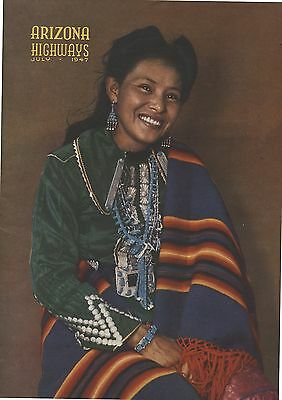 Old July 1947 Arizona Highways Magazine Navajo Girl on Cover