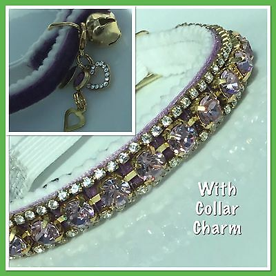Pretty Lilac Crystal Cat Collar  with clip on charm and bell enchanced with Swar