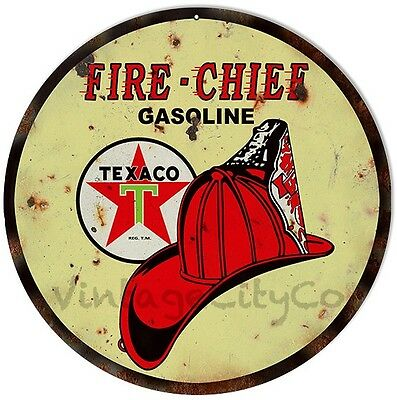 """Antique Style """" Texaco - Fire Chief """" Gasoline Metal Sign - Rusted"""