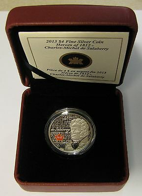 2013 Proof $4 War of 1812 Heroes-Lt Col Charles De Salaberry .9999 silver Canada
