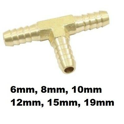 6mm 8mm 10mm 12mm Brass Barbed T Piece 3 Ways Fuel Hose Joiner Adapter Fitting
