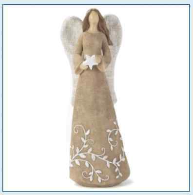 Burlap Angel & Star Resin - 10 inches tall - Country Rustic Primitive Christian