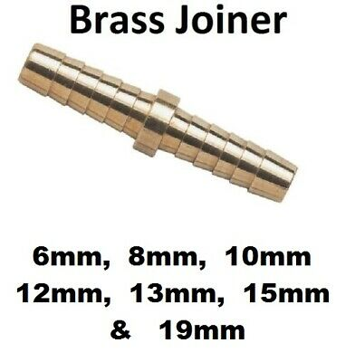6mm 8mm 10mm 12mm Straight Brass Barbed Inline Joiner Connector Fuel Air Oil Gas