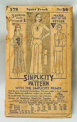 """1920s RARE Simplicity Sewing Pattern & Primer~Sport Frock~SZ Bust 36""""~No 378"""