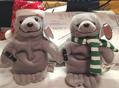 2 Coca Cola Seals Stuffed Beanies in Excellent Condition