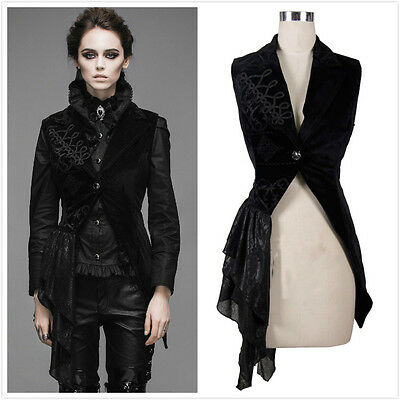 Devil Fashion WT002 Gothic Victorian Black Velvet Swallow Tail Waistcoat Jacket