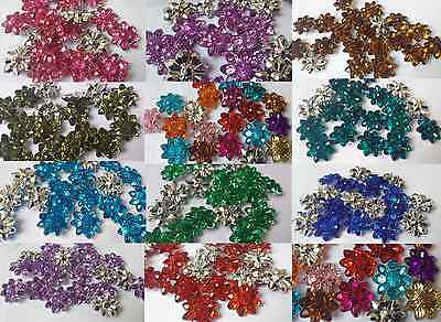 20-30 Mixed Variety faceted Flower Crystal Sew Craft Buttons Size 20,27,30mm